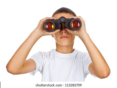 Boy in white shirt looking through binoculars isolated over white