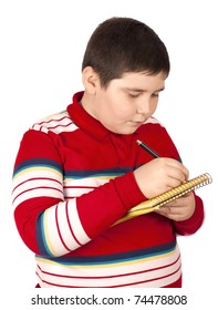 Boy who writes on a notepad isolated over white background