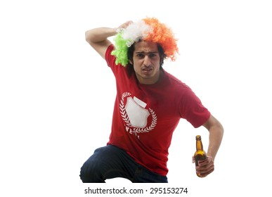 Boy with a wig holding a beer bottle