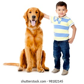 Boy wih a beautiful dog���- isolated over a white background