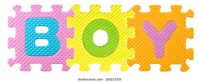Boy word created from Alphabet puzzle isolated on white background , with clipping path.