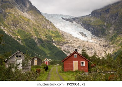 Boyabreen, Norway - August 2018  2018: Old farming village at the feet of Boyabreen Glacier in southern Norway