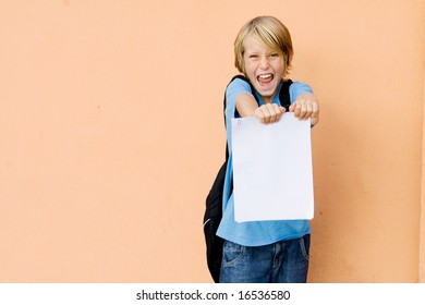 boy,happy with his exam results