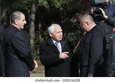 Boyko Borisov, Zhelyu Zhelev and Tsvetan Tsvetanov take part in celebration for National day of Bulgaria -  the Liberation Day on monument of Unknown warrior in Sofia, Bulgaria - on March 3, 2010