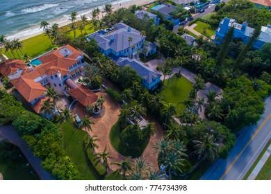 BOYNTON BEACH, FL, USA - DECEMBER 5, 2017: Aerial drone image of luxury mansions on Boynton Beach Florida USA