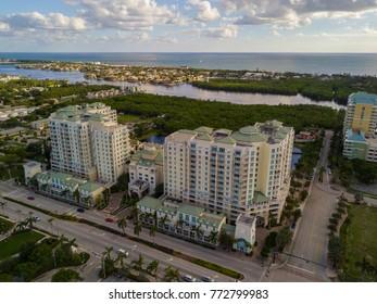 BOYNTON BEACH, FL, USA - NOVEMBER 24, 2017: Aerial drone photo of a residential condominium located at 400 north federal highway