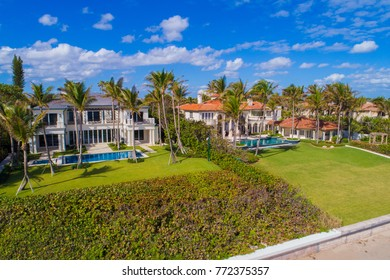BOYNTON BEACH, FL,USA - DECEMBER 1, 2018: Aerial image of mansions on Boynton Beach FL, USA