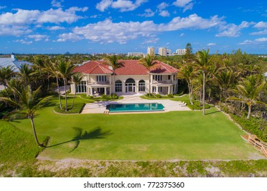 BOYNTON BEACH, FL,USA - DECEMBER 1, 2018: Aerial image of mansions on Boynton Beach FL, USA