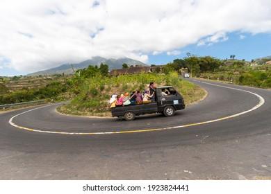 Boyolali, Indonesia - September 29, 2008 : Mass transportation on the eastern slopes of Mount Merapi.