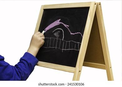 Boys arm drawing on chalk board easel