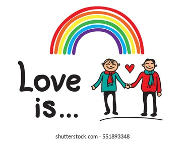 Boys couple with rainbow and Love Is inscription isolated on white background.Valentine's Day illustration. Hand drawn style. Design elements for greeting card or flyer.