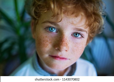 boy's face close-up, freckles face, portrait of blue-eyed boy with freckles close-up