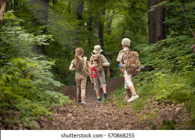 boys and girl go hiking with backpacks on forest road bright sunny day