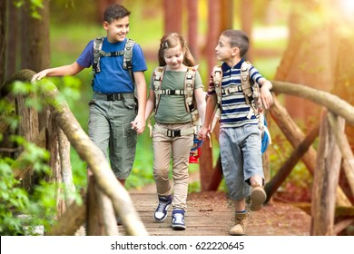 boys and girl go hiking with backpacks on forest road