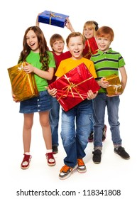 boys and girls with Christmas gifts isolated on white