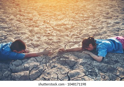Boys and girls are reaching for each other. In hot and dry arid areas