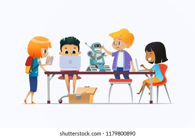 Boys and girls standing and sitting around desk with laptops and robot and working on school project for programming lesson. Concept of coding and robotics for kids. Flat cartoon  illustration