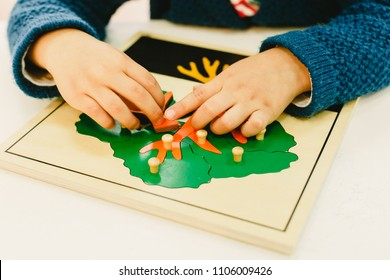 Boys and girls students in a montessori school manipulating their material to learn