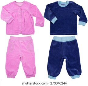 Boy's and girl's suit set isolated on a white background