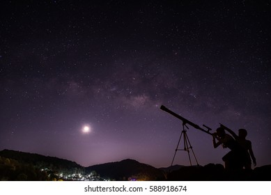 Boys and girls telescopic. Milky Way galaxy, on the mountains. Long exposure photograph, with grain.Image contain certain grain or noise and soft focus.