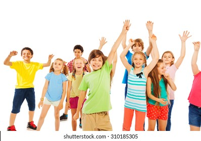 Boys and girls very happy raising hands