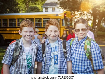 Boys headed to school in the summer