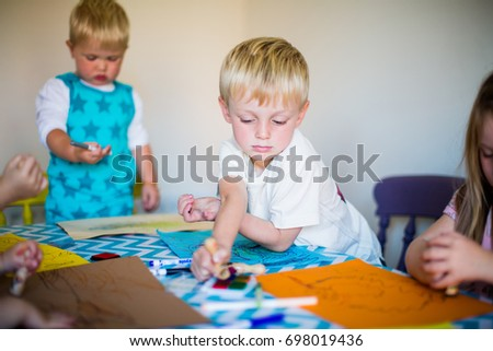 Boys Indoor Craft Activities Stock Photo Edit Now 698019436