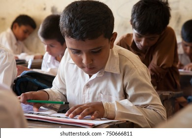 Boys Studying. Thatta, Sindh, Pakistan - September 08 2015. Government Schools Condition.
