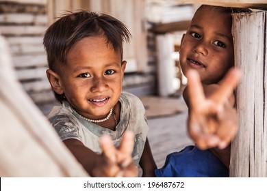 Boys in Thailand village.