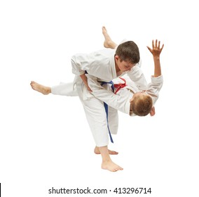 Boys are trained judo throws