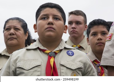 Boyscout faces of all age at 2014 Memorial Day Event, Los Angeles National Cemetery, California, USA, 05.24.2014