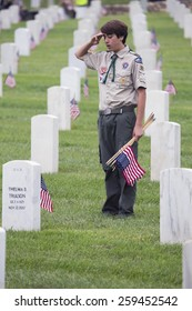 Boyscout places one of 85, 000 US Flags at 2014 Memorial Day Event, Los Angeles National Cemetery, California, USA, 05.24.2014