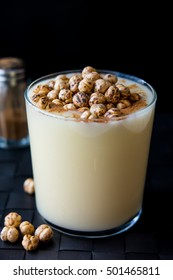 Boza or Bosa, traditional Turkish drink with roasted chickpea