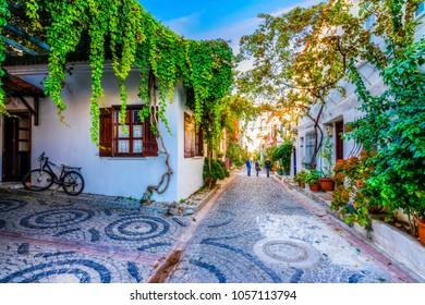 Bozcaada streets view. Bozcaada is populer tourist attraction in Aegean Sea.