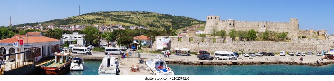 BOZCAADA, TURKEY - APR 28, 2018 - Ottoman era fortress on island of Bozcaada, Turkey