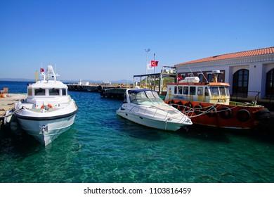 BOZCAADA, TURKEY - APR 28, 2018 - Coast Guard patrol boat on the island of Bozcaada, Turkey