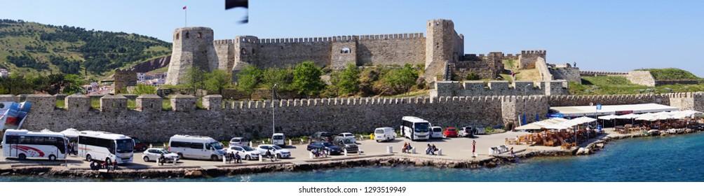 BOZCAADA, TURKEY - APR 28, 2018 - Panorama of Ottoman era fortress on island of Bozcaada, Turkey