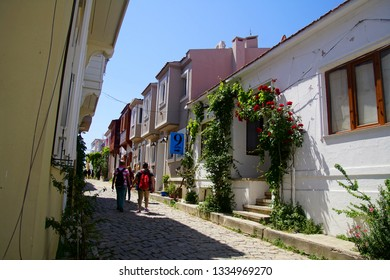 BOZCAADA, TURKEY - APR 28, 2018 - Small hotels in traditional konak style on the island of Bozcaada, Turkey