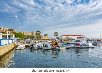 Bozcaada, Turkey - October 22, 2016 : Harbour view in Bozcaada. Bozcaada is populer tourist attraction in Aegean Sea.