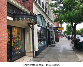 BOZEMAN, MONTANA - MAY 31, 2018:  Downtown Bozeman is a popular travel destination in the Yellowstone Park area.  Local boutiques, galleries and restaurants attract visitors from around the world.