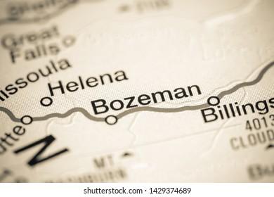 Bozeman, Montana. USA on a map
