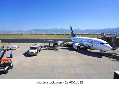 BOZEMAN, MT -5 SEP 2018- View of an airplane from United Airlines (UA) with Star Alliance at the Bozeman Yellowstone International Airport (BZN), in Montana, near Yellowstone National Park.