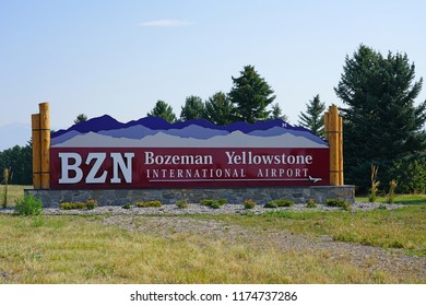 BOZEMAN, MT -7 SEP 2018- View of the Bozeman Yellowstone International Airport (BZN),  located in Gallatin County, Montana. It serves tourists visiting Yellowstone National Park.
