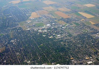 BOZEMAN, MT -7 SEP 2018- Aerial view of the city of Bozeman and the campus of Montana State University (MSU) in Gallatin County, Montana near Yellowstone National Park.