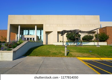 BOZEMAN, MT -7 SEP 2018- View of the Museum of the Rockies, known for its dinosaur paleontological collection and the largest T-Rex skull, on the campus of Montana State University (MSU) in Bozeman.