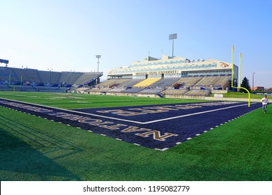 BOZEMAN, MT -7 SEP 2018- View of the Bobcat Stadium on the campus of Montana State University in Bozeman, home of the Bobcats. MSU is a public research and teaching university.