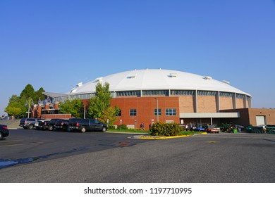 BOZEMAN, MT -7 SEP 2018- View of the Brick Breeden Fieldhouse, a multi-purpose indoor arena located on the campus of Montana State University in Bozeman, home of the Bobcats.