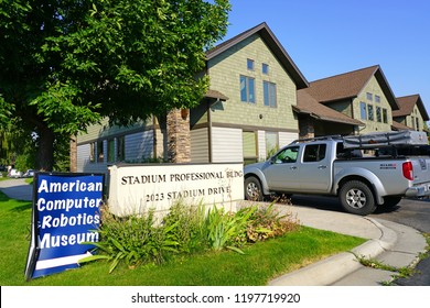 BOZEMAN, MT -7 SEP 2018- View of the American Computer and Robotics Museum located in downtown Bozeman, Montana, home to the campus of Montana State University (MSU).