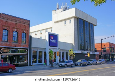 BOZEMAN, MT -7 SEP 2018- View of a branch of US Bank located in downtown Bozeman, Montana, home to the campus of Montana State University (MSU).