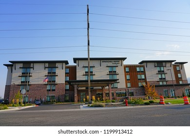 BOZEMAN, MT -7 SEP 2018- View of the Springhill Suites by Marriott hotel in Bozeman, Montana.
